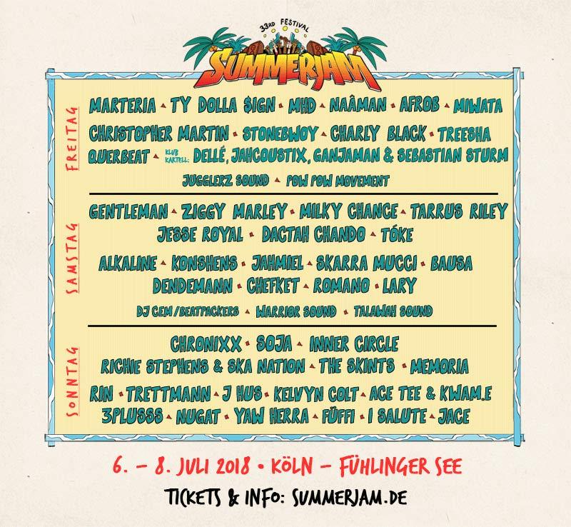 summerjam 2018 lineup